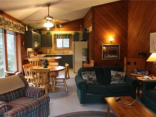 Located at Base of Powderhorn Mtn in the Western Upper Peninsula, Duplex Home Only Half Block from Main Ski Lodge with Beautiful Free-Standing Fireplace