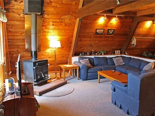 Located at Base of Powderhorn Mtn in the Western Upper Peninsula, An Intimate A-Frame Home with Free-Standing Fireplace
