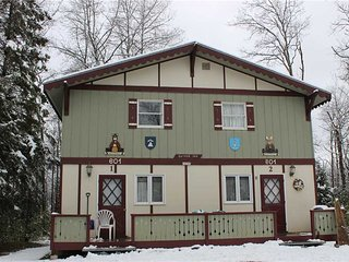 Located at Base of Powderhorn Mtn in the Western Upper Peninsula, A Quaint Duplex with Shared Outdoor Hot Tub Located 1 Block from Main Ski Lodge