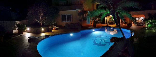 Night time pool an outdoor area