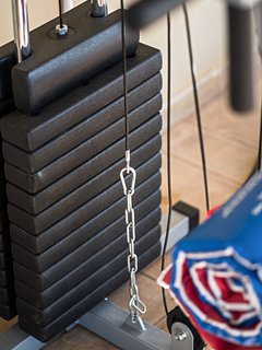 Gym area - weight lifting equipment
