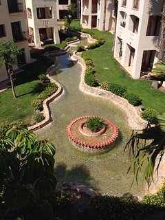 Water feature and quiet landscaped gardens from sun balcony