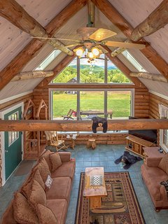 Looking Down on Great Room from Loft with Phenomenal White Mnt and Property Views