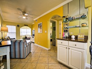 Enjoy a charming vacation rental with beachy decor