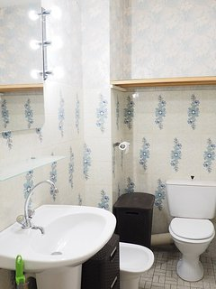Bathroom with bath, shower attachment, bidet, wc and sink
