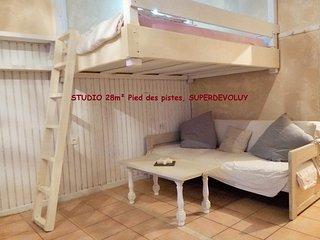 Studio 28 m2, pieds des pistes, avec balcon
