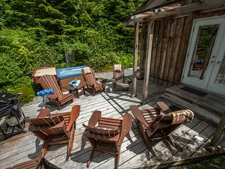 Private Deck with Cedar Adirondack Chairs and Hot Tub in complete privacy