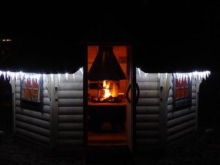 Historic dikehouse with romantic laplandhut