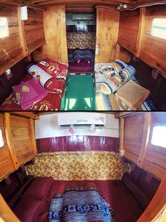 Your first/front cabin, 2 single bed and 1 double bed. Your cabin is installed with air conditioner.