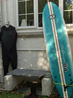 Convenient area to take off your wetsuit complete with bench