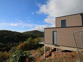 Terrasse orientée sud, avec vue directe sur les Vosges et la plaine d'Alsace