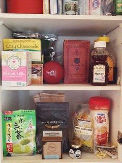 Tea + Coffee + Sugar + Honey + Creamer :)