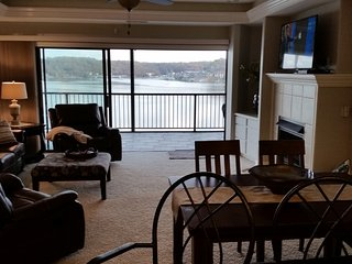 View from the front door.  you can see the lake from the kitchen, living room and both master suites
