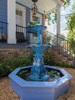 Unique blue fountain.