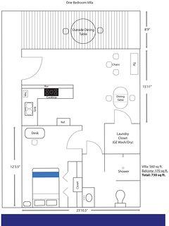 Typical one bedroom floor plan.