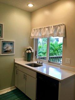 kitchen with beautiful garden views