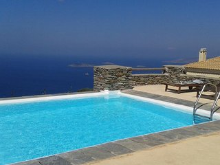 Andros Island Flat Sleeps 4 Mountain High Sea Views Swimming Pool, Batsi