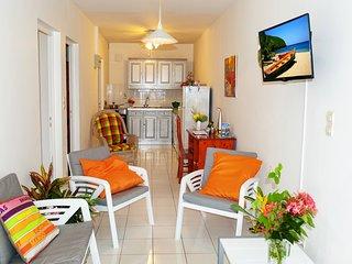salon, TV TNT, WIFI, cuisine neuve, bureau, ventilateur, canapé et fauteuils.