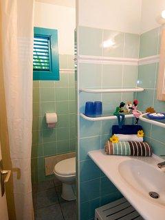 salle d'eau avec lavabo,douche et WC. Un WC séparé est disponible.