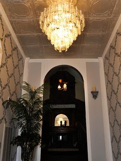 Foyer with beautiful glass chandelier
