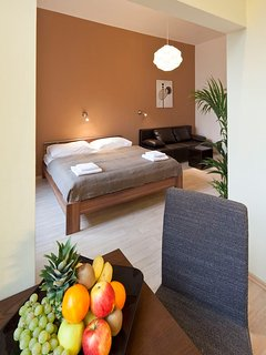 Living bedroom with double bed 180 x 200 and double sofa bed