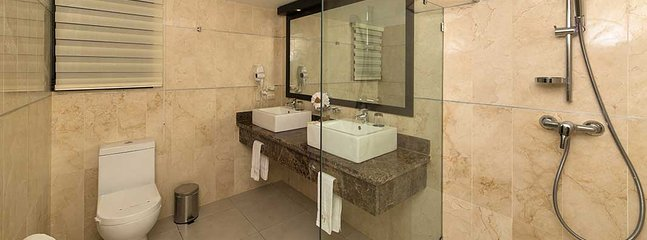 marble bath with shower and two sinks