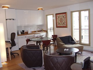Center Paris 5 guests 2 bedrooms 2 1/2 bath AC facing South on a pedestrian area