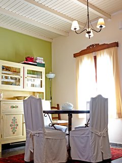 Dining area with restored old furniture