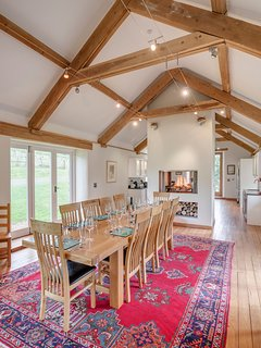 Spacious open-plan dining for up to 12....