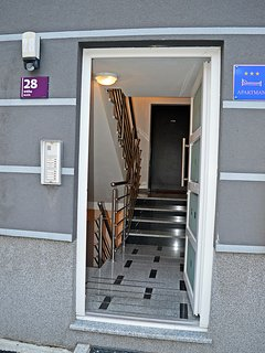 Entrance to the apartment building.