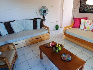 le salon avec 2 canapés lits est aéré par lames ventilantes et grand ventilateur, accès terrasse.
