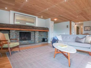 The family room has a wood-burning fireplace