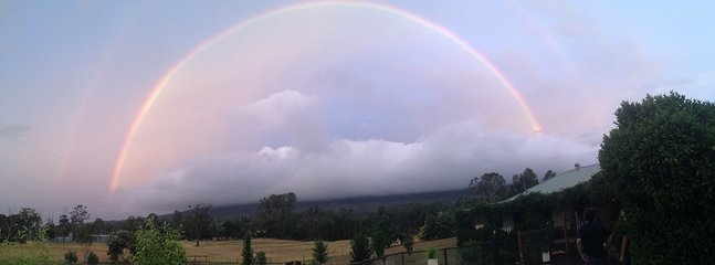Cathedral Range disappears  for an end to end rainbow.
