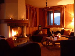 Cosy log fire in the open lounge