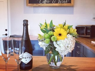 We're happy to provide special requests of flowers and wine in the loft