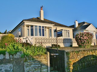 Front elevation of the bungalow on a classic Padstow summer morning