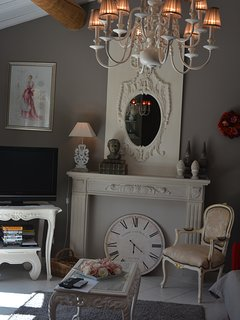 sitting place with TV and DVD player