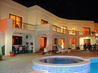 Villa Desiderata:   part of pool deck terrace and swimming pool.