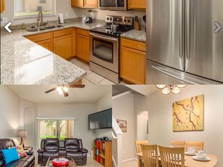 Kitchen, living space and dining area.