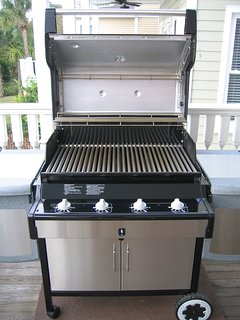 Weber stainless steel gas grill on back deck