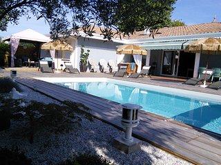 """""""Caraïbe"""" grande villa 150 m2 avec piscine chauffée à 28° et SPA, Ares"""
