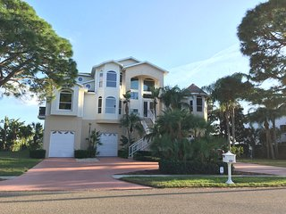 Island Retreat - Oceanfront Home w/Large Yard, Pool, Covered Porch, Private Dock, Tarpon Springs