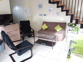 Sejour avec canapé-lit (2 pers), 2 poang, 1 TV ecran plat, wifi, airco