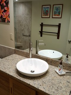 Newly Remodeled Bathroom with Teak Wood Vanity and Semi-Recessed Sink and Full Length Mirror.