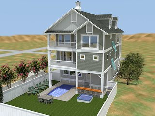 Carolina Shores Brand New 6 Bedroom Oceanfront Home w/ Cabana Beach Service, Nags Head