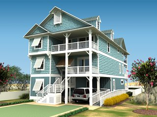 Fanta Sea a Brand New 9 Bedroom Oceanfront Home w/ Cabana Beach Service, Nags Head