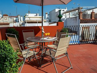 Spacious Penthouse Triana apartment in Triana with WiFi, private roof terrace &