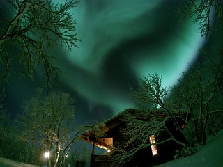 Main cabin under Northern lights