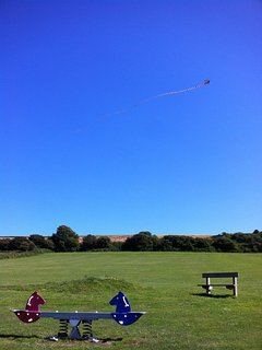 Kite flying in Niton Rec, a safe and fun place to take little ones.