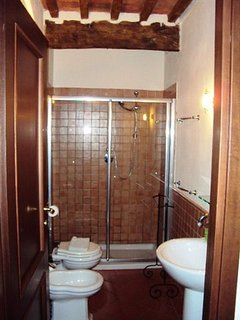 Custom full bath with pedestal sink, large shower, toilet and bidet.